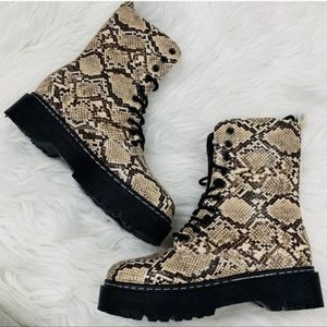 Shoes - Beige Snake Skin Vegan Leather Combat Boots